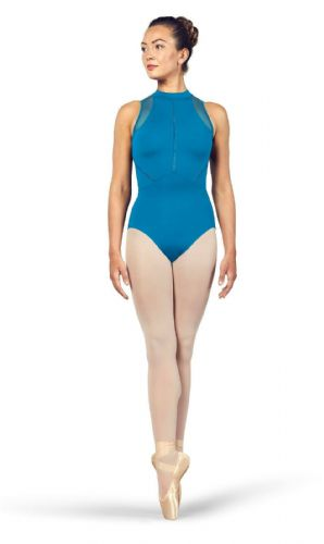 BLOCH Ladies Dance High Neckline Zip Open Back Halter Leotard Loanne L4985 Blue